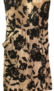 Ann Taylor LOFT short dress Cream with black floral print on Tradesy