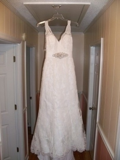 Ivory Satin with Lace Overlay Wedding Dress Size 8 (M)