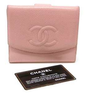 Chanel Chanel CC Pink Caviar Leather Luxury Dual Bi-fold Wallet