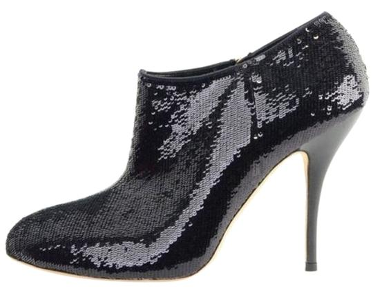 Gucci Ankle Sequin Close Toe Round Toe Black Boots