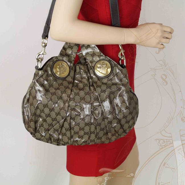 Item - Hysteria Crystal Monogram Gg Brown Patent Leather Tote