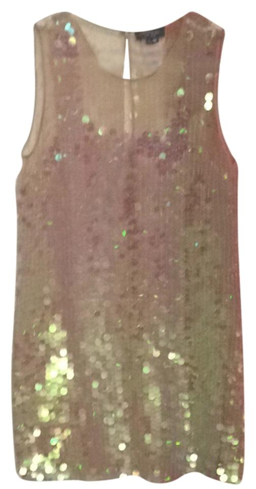 36e80e4cce4fb Gryphon Nude Mesh Covered In White Iridescent Sequins Tank Cocktail Night  Out Dress