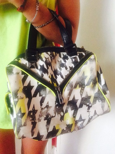 L.A.M.B. Satchel in Neon Yellow, Black, White
