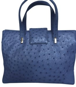 Suarez Leather Ostrich Satchel in Blue
