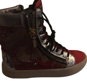 Giuseppe Zanottired dragon embroidered satin and silver leather high top sneakers Athletic
