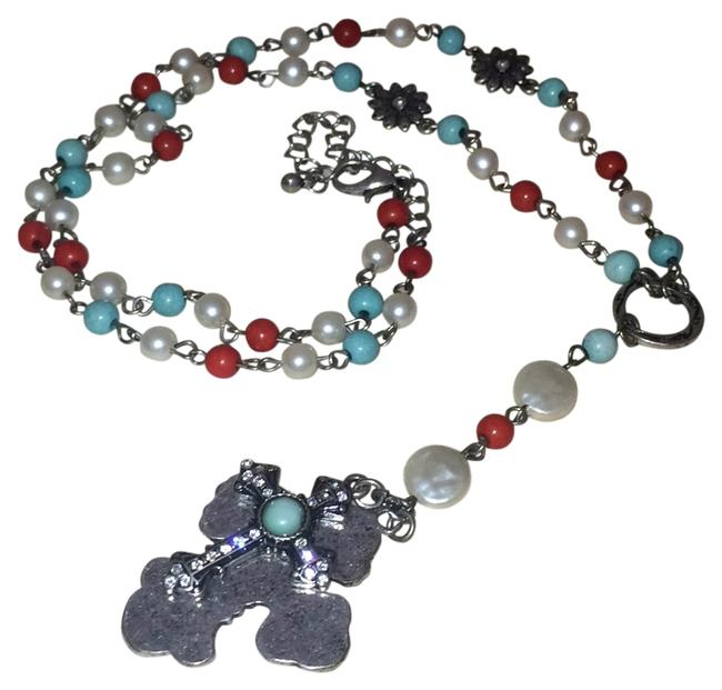 Item - Turquoise Red Cross Necklace