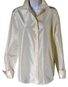 Ellen Tracy Never Worn Never Laundered French Cuffs Cool Hand Fabric New Top White Iridescent With A Slight Hint Of Other Colors