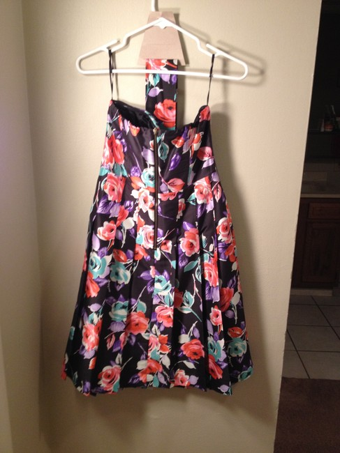 Express Size 4 Fancy Formal Party Knee Length Floral Strappless Belted Dress
