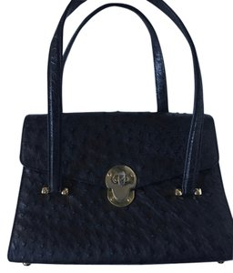 Leu Locati Ostrich Gold Hardware Satchel in black