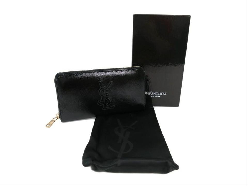 college purses - Saint Laurent Yves (YSL) Black Patent Leather Clutch Wallet in Box ...