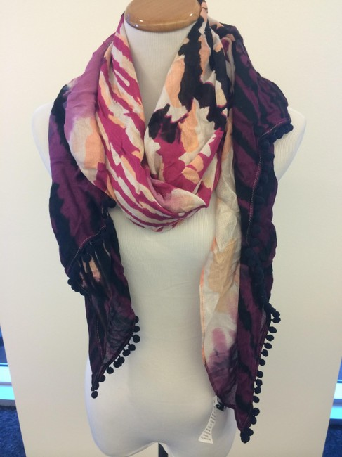 Item - Pink Purple Peach Black Multi Colored Scarf/Wrap