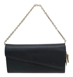 Dior Christian Dior Black Leather Gold Chain Hardware Dior Charms WOC Wallet on a Chain in Box