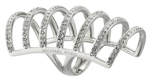 Michael Kors Michael Kors MKJ4426 Women's Silver tone Pave Crystals Cage Ring Size 8 NEW! $145