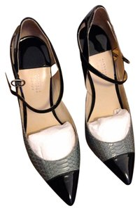 Barneys New York Snakeskin Patent Leather Pumps