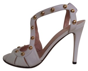 Stuart Weitzman Hardware Leather White with Gold Sandals