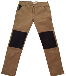 Free People Capri/Cropped Pants Beige and black