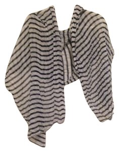 Black and White Striped Sheer Scarf or Wrap