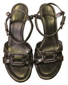 Cole Haan Leather Stitching Black Sandals