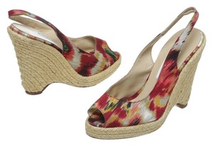 Oscar de la Renta Red Multicolor Wedges