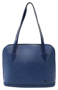 Louis Vuitton Lussac Epi Leather Tote Satchel in Blue