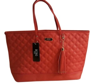 BCBG Paris Quilted Modern Chic Gold Hardware Tassel Tote in Orange