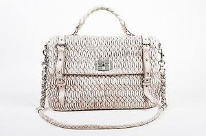 Miu Miu Gaufre Nappa Leather Chain Strap Large Cloquet Satchel in Beige