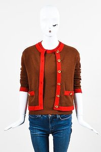 Chanel Red Knit Color Block Ss Ls Cardigan Set Sweater