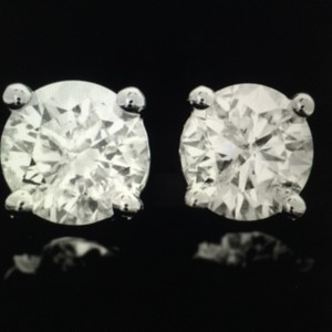 1.22 CTW Round Brilliant Cut Diamond Earrings in White Gold