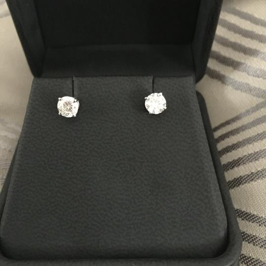 Other 1.22 CTW Round Brilliant Cut Diamond Earrings in White Gold Image 2