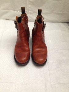 Frye Like New Distressed Leather Saddle cognac Boots
