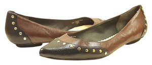 Johnston & Murphy Pointed Toe Studded Brown and Black Leather Flats