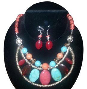 Semi Precious Stone Necklace and Earring