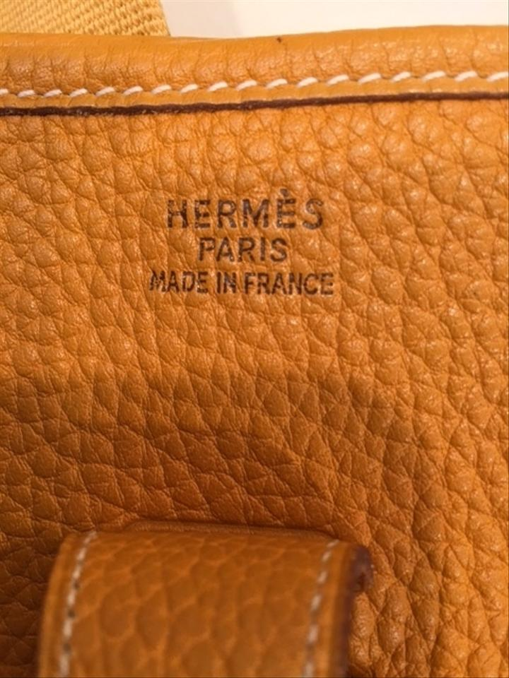 Handbag Evelyne Bag Yellow Body Hermès Cross Mustard Leather 57Pwaqg