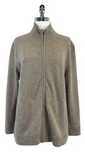 Neiman Marcus Grey Cashmere Zip Sweater