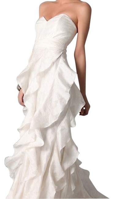 Item - Ivory Strapless Ruffle Gown Long Formal Dress Size 14 (L)