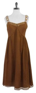 Catherine Malandrino Rust Silk Sleeveless Dress