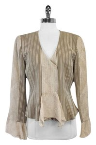 Armani Collezioni Tan White Pin Striped Linen Silk Jacket