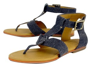 See by Chlo Blue Denim Flat Leather Sandals