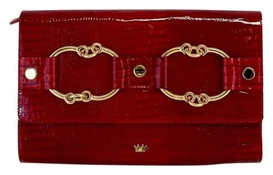 Elaine Turner Red Snakeskin Embossed Patent Leather Clutch