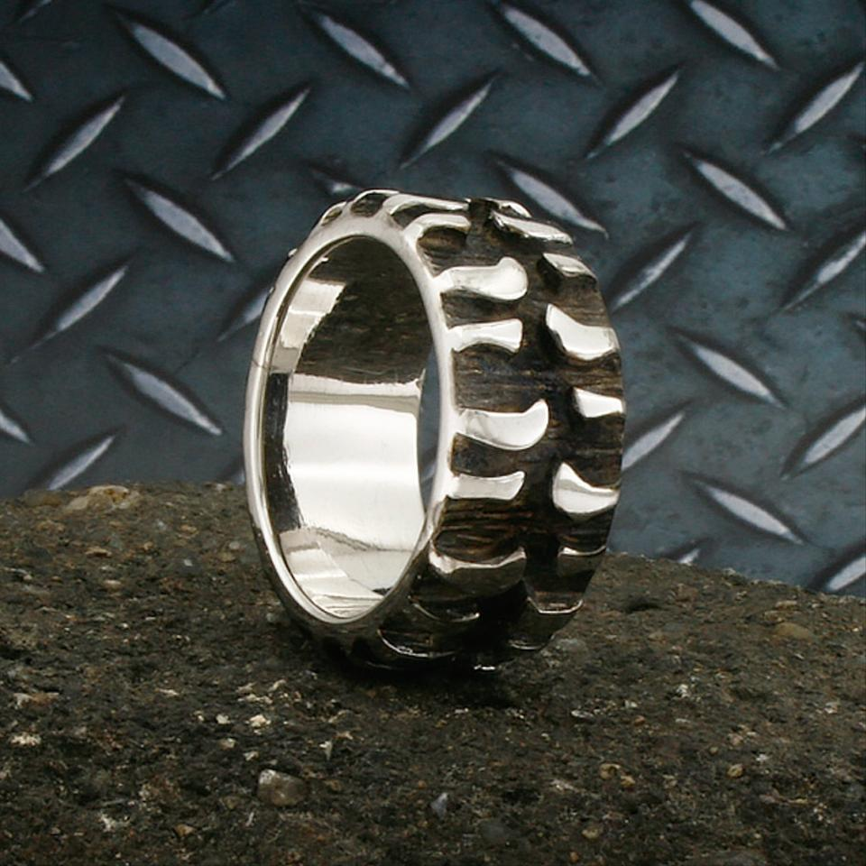 Sterling Silver Tire Tread Band Black Plated Mud Bogger Super Swamper Monster Bad Bn014a Ring Tradesy