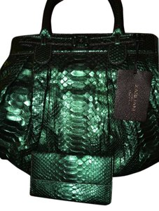 Zagliani Snakeskin Python Wallet Satchel in green