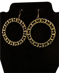 Gold Hoops with Black Ribbon Earrings