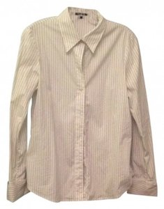 Theory Button Down Shirt white with pin stripe