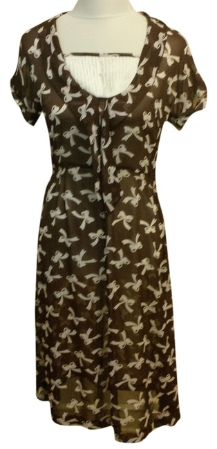 Brown, Ivory Maxi Dress by Bettie Page