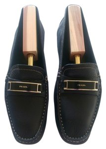 Prada Moccasins Leather Black Flats