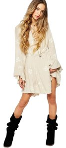 Free People short dress almond Embroidered Bohemian Peasant on Tradesy