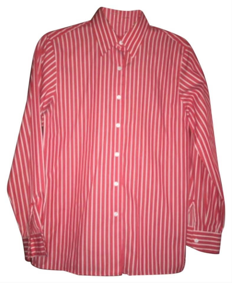 Foxcroft red white with stripes button down shirt for Red and white striped button down shirt