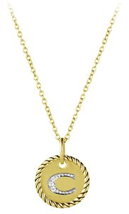 """David Yurman 'Cable Collectibles' Initial """"C"""" Pendant with Diamonds in Gold on Chain"""