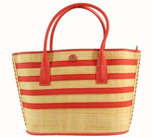 Tory Burch Natural Red Stripe Straw Tote in Multi-Color
