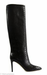 Gucci 355338 Womens Python Tall High Heel Black Boots